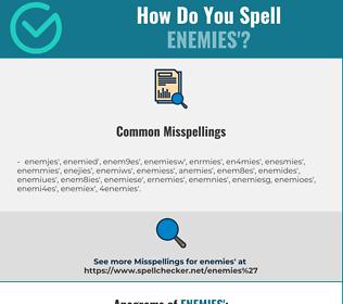 Correct spelling for enemies'