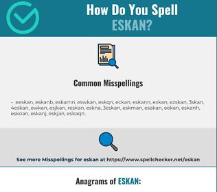 Correct spelling for eskan