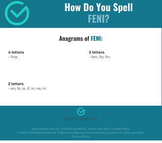 Correct spelling for feni