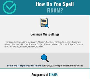 Correct spelling for finam