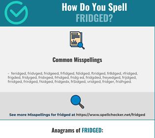 Correct spelling for fridged