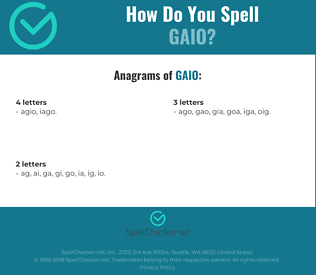 Correct spelling for gaio