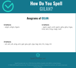 Correct spelling for gilan