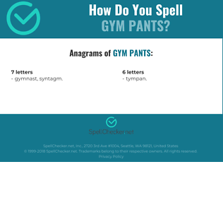 Correct spelling for gym pants