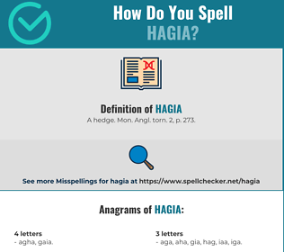 Correct spelling for hagia