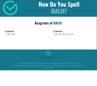 Correct spelling for halh