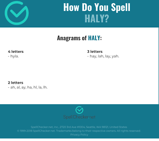 Correct spelling for haly