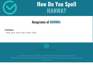 Correct spelling for hanwa
