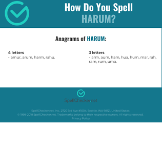 Correct spelling for harum
