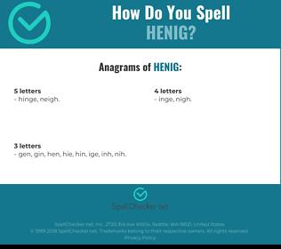 Correct spelling for henig