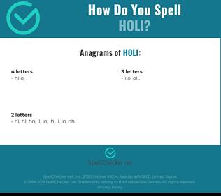 Correct spelling for holi
