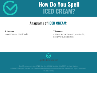 Correct spelling for iced cream