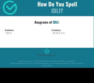 Correct spelling for idli