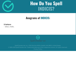 Correct spelling for indicis
