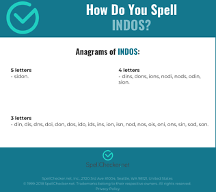 Correct spelling for indos