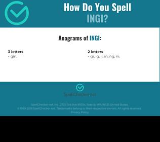 Correct spelling for ingi