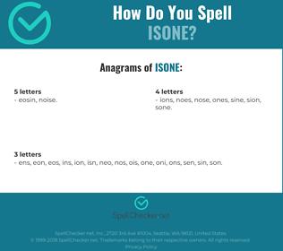Correct spelling for isone