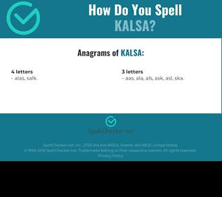 Correct spelling for kalsa