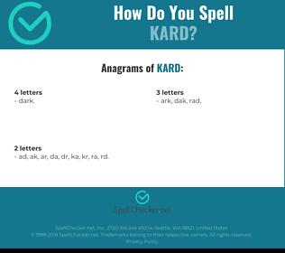Correct spelling for kard