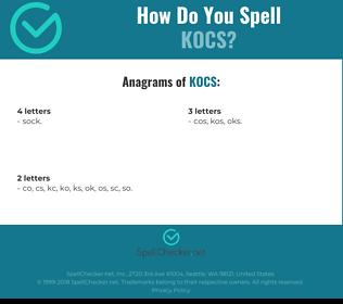 Correct spelling for kocs