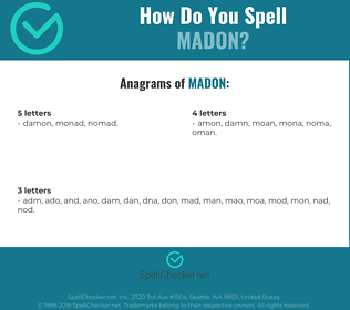 Correct spelling for madon