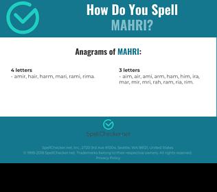 Correct spelling for mahri