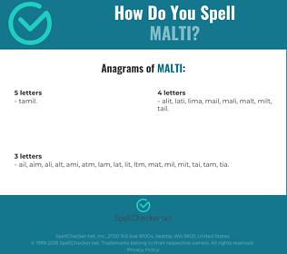 Correct spelling for malti
