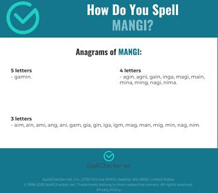 Correct spelling for mangi