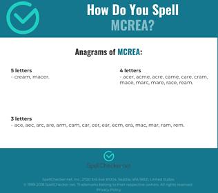 Correct spelling for mcrea