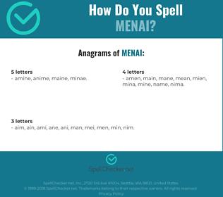 Correct spelling for menai