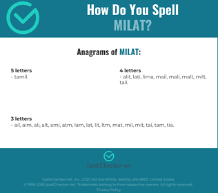 Correct spelling for milat