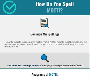 Correct spelling for motti