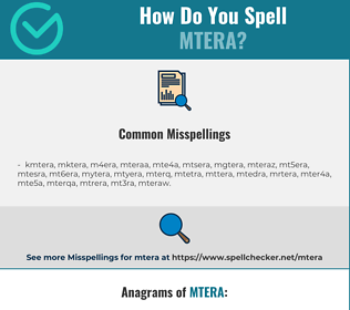 Correct spelling for mtera