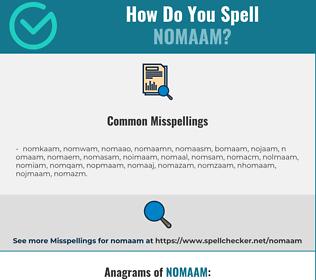 Correct spelling for nomaam