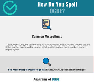 Correct spelling for ogbe