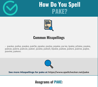 Correct spelling for pake