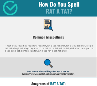 Correct spelling for rat a tat