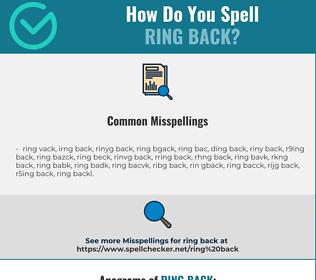 Correct spelling for ring back