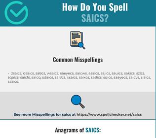 Correct spelling for saics