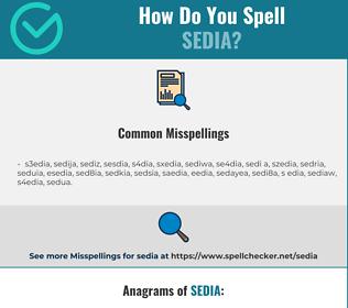 Correct spelling for sedia