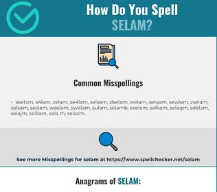Correct spelling for selam