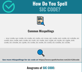 Correct spelling for sic code