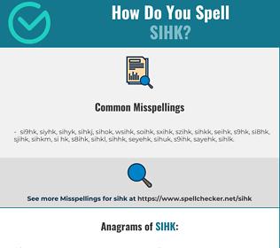 Correct spelling for sihk