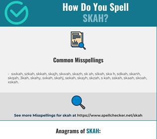 Correct spelling for skah