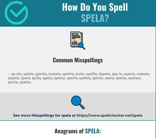 Correct spelling for spela