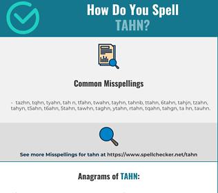Correct spelling for tahn