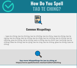 Correct spelling for tao te ching