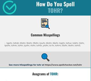 Correct spelling for tohr