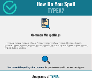 Correct spelling for typea