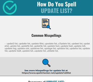 Correct spelling for update list